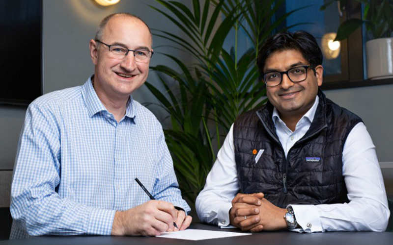 CEO Barnaby Perks, left, and Ash Patel of Optum Ventures