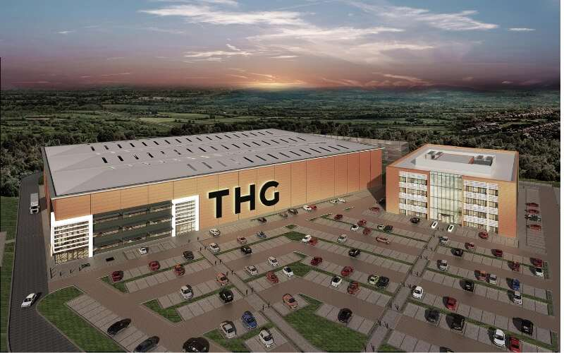 A render of The Hut Group's new logistics and content creation studio at Manchester Airport