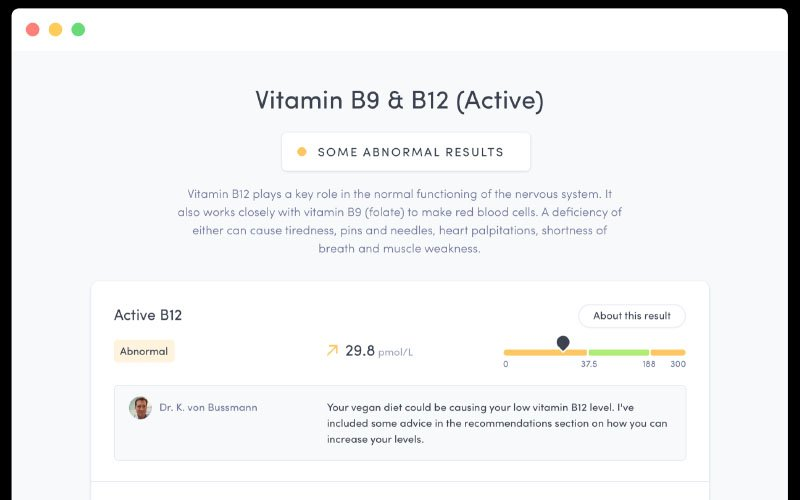 Thriva's dashboard shows a user's biomarkers