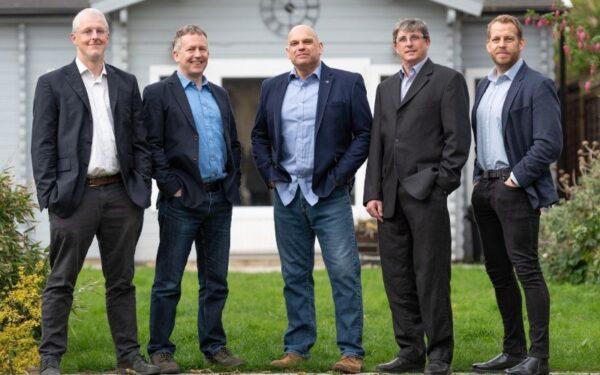 (L-R) iKVA's Prof Richard Mortier (CTO), Dr Chris Doran (Chairman), Jon Horden (CEO), Ian Firth (CPO) and Leon Challenger (Head of Sales)